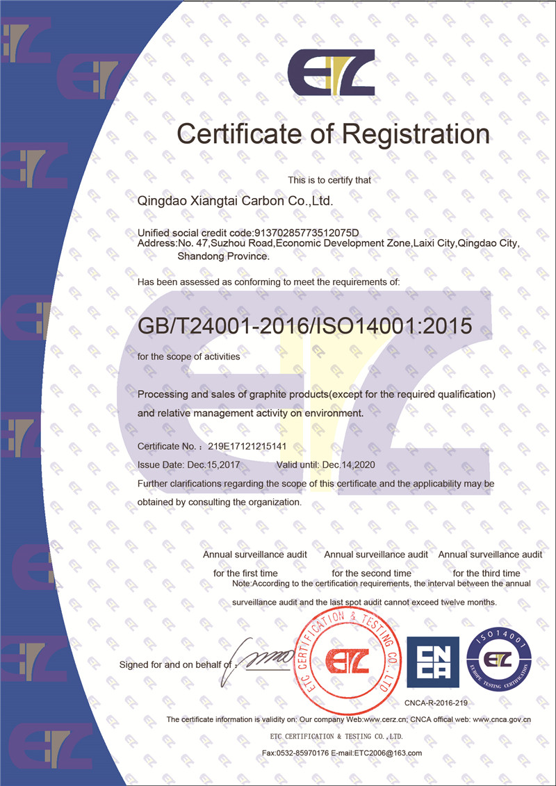 Certificate of Registration ISO140001:2015